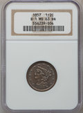Half Cents: , 1857 1/2 C MS63 Brown NGC. B-1. NGC Census: (105/92). PCGSPopulation (87/33). Mintage: 35,180. Numismedia Wsl. Price for ...