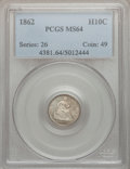 Seated Half Dimes: , 1862 H10C MS64 PCGS. PCGS Population (123/135). NGC Census:(163/157). Mintage: 1,492,550. Numismedia Wsl. Price for proble...