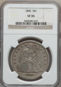 Seated Dollars: , 1845 $1 VF35 NGC. NGC Census: (3/137). PCGS Population (14/185).Mintage: 24,500. Numismedia Wsl. Price for problem free NG...