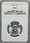 Washington Quarters: , 1942-S 25C MS66 NGC. NGC Census: (258/60). PCGS Population(231/32). Mintage: 19,384,000. Numismedia Wsl. Price for problem...