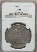 Seated Dollars: , 1849 $1 XF45 NGC. NGC Census: (28/211). PCGS Population (55/213).Mintage: 62,600. Numismedia Wsl. Price for problem free N...