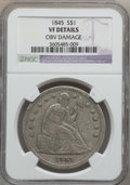 Seated Dollars, 1845 $1 -- Obverse Damage -- NGC Details. VF. NGC Census: (0/145).PCGS Population (2/219). Mintage: 24,500. Numismedia Wsl...