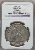 Seated Dollars: , 1868 $1 -- Plugged -- NGC Details. VF. NGC Census: (0/80). PCGSPopulation (3/141). Mintage: 162,100. Numismedia Wsl. Price...