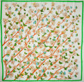 "Luxury Accessories:Accessories, Hermes White, Orange, and Green ""Vol Amoureux des Azures,"" byLaurence Bourthoumieux Silk Scarf. ..."