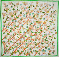 """Hermes White, Orange, and Green """"Vol Amoureux des Azures,"""" by Laurence Bourthoumieux Silk Scarf"""