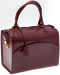 Luxury Accessories:Bags, Fine Italian Bordeaux Lizard Top Handle Bag. ...