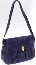 Gucci Periwinkle Suede Shoulder Bag with Gold Hardware