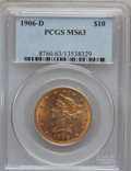 Liberty Eagles: , 1906-D $10 MS63 PCGS. PCGS Population (453/213). NGC Census:(593/175). Mintage: 981,000. Numismedia Wsl. Price for problem...