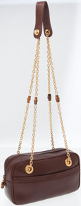 Luxury Accessories:Bags, Gucci Brown Leather Bowler Shoulder Bag with Gold Chain and BambooShoulder Strap. ...