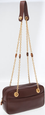 Gucci Brown Leather Bowler Shoulder Bag with Gold Chain and Bamboo Shoulder Strap