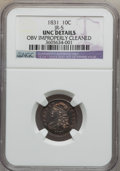 Bust Dimes, 1831 10C -- Obverse Improperly Cleaned -- NGC Details. Unc. JR-5.NGC Census: (1/173). PCGS Population (0/131). Mintage: 7...