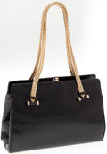 Luxury Accessories:Bags, Judith Leiber Black Lizard Evening Bag with Gold Handles. ...