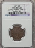 Two Cent Pieces: , 1872 2C -- Environmental Damage -- NGC Details. Fine. NGC Census:(34/249). PCGS Population (22/257). Mintage: 64,000. Numi...