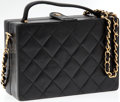 Luxury Accessories:Bags, Chanel Black Quilted Lambskin Leather Hard-Sided Evening Bag withGold Hardware. ...