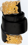 Luxury Accessories:Accessories, Judith Leiber Black Lizard Belt with Gold Swirl Hardware. ...
