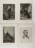 Books:Prints & Leaves, [Engravings]. Four Engravings of Presidents from Various Sources.[N.d., ca. 1870's]. Approximately 10.5 x 8 inches, Lincoln...
