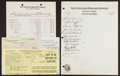 Baseball Collectibles:Others, 1936 Cleveland Indians Team Signed Sheet and Unsigned 1941 TaxDocuments....