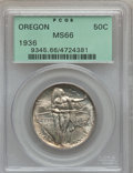Commemorative Silver: , 1936 50C Oregon MS66 PCGS. PCGS Population (533/155). NGC Census:(512/138). Mintage: 10,006. Numismedia Wsl. Price for pro...