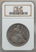 Seated Dollars: , 1843 $1 VF25 NGC. NGC Census: (4/360). PCGS Population (7/444).Mintage: 165,100. Numismedia Wsl. Price for problem free NG...