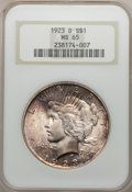 Peace Dollars: , 1923-D $1 MS65 NGC. NGC Census: (235/23). PCGS Population (405/75).Mintage: 6,811,000. Numismedia Wsl. Price for problem f...