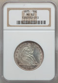 Seated Half Dollars: , 1875 50C MS62 NGC. NGC Census: (44/110). PCGS Population (57/112).Mintage: 6,027,500. Numismedia Wsl. Price for problem fr...