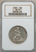 Seated Half Dollars: , 1857 50C AU55 NGC. NGC Census: (25/107). PCGS Population (19/68).Mintage: 1,988,000. Numismedia Wsl. Price for problem fre...