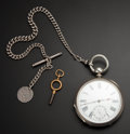 Timepieces:Pocket (pre 1900) , Swiss 18 Size Key Wind Pocket Watch With Chain & Coin Fob. ...