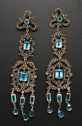 Estate Jewelry:Earrings, Early Chandelier Blue Topaz & Diamond Earrings. ...
