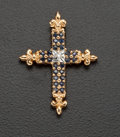 Estate Jewelry:Pendants and Lockets, Blue Sapphire & Diamond Gold Cross. ...