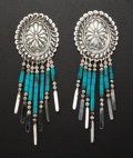 Estate Jewelry:Earrings, Turquoise & Sterling Earrings. ...