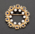 Estate Jewelry:Brooches - Pins, Pearl & Sapphire Gold Pin. ...