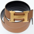 Luxury Accessories:Accessories, Hermes Indigo Calf Box and Gold Togo Leather with Gold H BuckleBelt. ...
