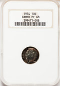 Proof Roosevelt Dimes: , 1954 10C PR68 Cameo NGC. NGC Census: (114/14). PCGS Population(26/1). Numismedia Wsl. Price for problem free NGC/PCGS coi...