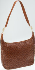 Luxury Accessories:Bags, Kieselstein Cord Brown Leather Woven Shoulder Bag with Gold FrogAnimal Hardware. ...