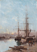 Fine Art - Painting, European, EUGÈNE GALIEN- LALOUE (French, 1854-1941). Harbor Scene. Oilon canvas. 18 x 13 x 3-1/2 inches (45.7 x 33.0 x 8.9 cm). S...(Total: 2 Items)