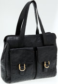 Luxury Accessories:Bags, Mauro Governa Black Ostrich Small Tote Bag with Front Pockets. ...