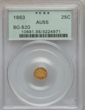 California Fractional Gold, 1863 25C Liberty Round 25 Cents, BG-820, R.5, AU55 PCGS. PCGSPopulation (0/35). NGC Census: (0/9). (#10681)...