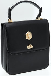 Kieselstein Cord Black Leather Square Top Handle Bag with Gold Alligator Hardware