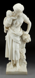 Sculpture, MATHURIN MOREAU (French, 1822-1912). Baiser Du Soir. Marble. 29 x 9 x 8-1/4 inches (73.7 x 22.9 x 21.0 cm). Signed on ba...