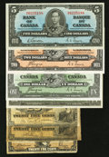 Canadian Currency: , DC-15a 25¢ 1900;. DC-15b 25¢ 1900;. DC-24c 25¢ 1923;. BC-21c $1 1937;. BC-21d $1 1937;. BC-22c $2 1937;... (Total: 7 notes)