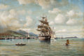 American:Marine, WILLIAM A. COULTER (American, 1849-1936). Clipper Ship in Oahuwith Diamond Head in the Distance, circa 1900. Oil on can...