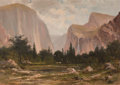 Fine Art - Painting, American:Antique  (Pre 1900), MANUEL VALENCIA (American , 1856-1935). Yosemite Valley,1892. Oil on canvas. 33 x 47-1/4 inches (83.8 x 120.0 cm). Sign...