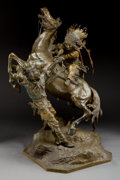 Sculpture, CARL KAUBA (Austrian, 1865-1922). Overpowered. Bronze with patina. 32 inches (81.3 cm). Signed and inscribed on cowboy's...
