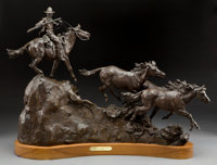 GRANT SPEED (American, 1930-2011) Stolen Horses, 1982 Bronze with patina 23 inches (58.4 cm) E