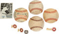 Autographs:Baseballs, 1940's-50's Texas League Team Signed Baseballs And Jewelry Lot Of 7....