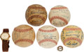 Autographs:Baseballs, 1946- 1961 Texas League Team Signed Baseballs & Jewelry Lot Of7....