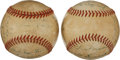 Autographs:Baseballs, 1953 New York Yankees Partial Team Signed Baseballs Lot of 2....