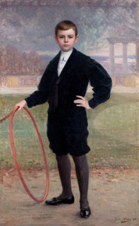 JULES CHARLES AVIAT (French, 1844-1944) Portrait of a Young Boy, 1906 Oil on canvas 62 x 38 inche