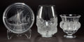 Art Glass:Lalique, TWO LALIQUE CLEAR AND FROSTED GLASS VASES AND AN ASHTRAY. Post1945. Engraved: Lalique, France. 6-3/4 inches high (17.1 ...(Total: 3 Items)