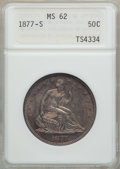 Seated Half Dollars: , 1877-S 50C MS62 ANACS. NGC Census: (48/211). PCGS Population(60/195). Mintage: 5,356,000. Numismedia Wsl. Price for proble...